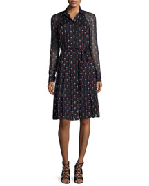 Pleated Heart-Print Shirt Dress, Black
