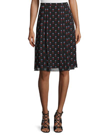 Pleated Heart-Print Silk Skirt, Black
