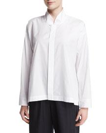 Poplin Mandarin-Collar Blouse, White