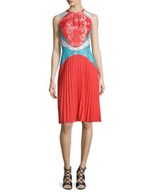 Sleeveless Pleated Lace Combo Dress, Red