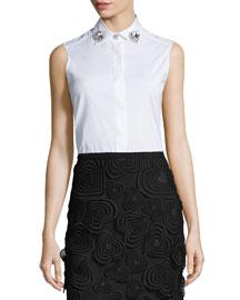 Sleeveless Jewel-Collar Blouse, White