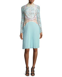 Long-Sleeve Paneled Lace Combo Dress, Mint