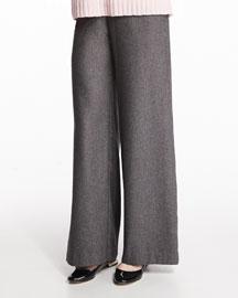 Wide-Leg Silk/Cashmere Trousers, Gray