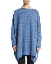 Zigzag-Stitched Cashmere Raglan Sweater, Denim Blue