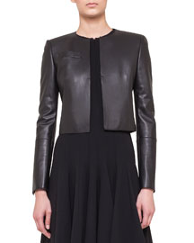 Hasso Cropped Napa Leather Jacket, Black