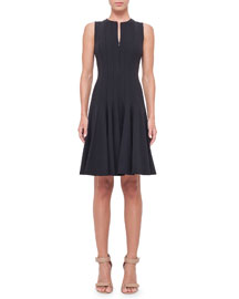 Sleeveless Pleated A-Line Dress, Black
