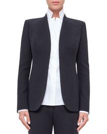 Shawl-Collar Wool Jacket, Black