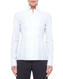 Notched Stand-Collar Stretch-Cotton Blouse, White