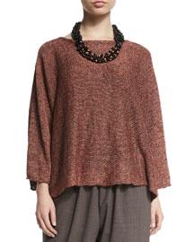 Melange-Knit Linen Sweater, Gazpacho