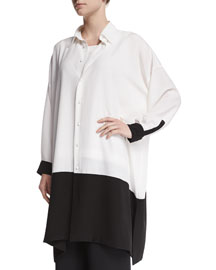 Oversized Colorblock Silk Crepe Blouse, Black/White