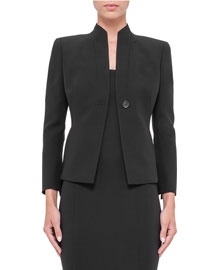 Temptation Wool-Blend One-Button Jacket, Black