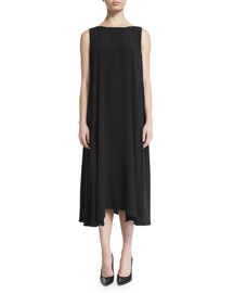 Sleeveless Bateau-Neck A-Line Dress, Black