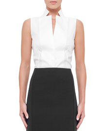 Sleeveless Notched Stand-Collar Blouse, White