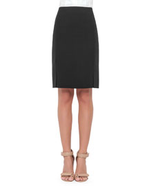 Double-Face Wool Skirt, Black