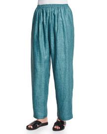 Wide-Leg Longer Linen Trousers, Teal