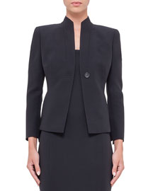 Temptation Wool-Blend One-Button Jacket, Navy