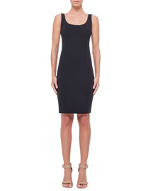 Sleeveless Scoop-Neck Sheath Dress, Navy