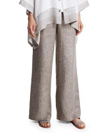 Flat-Front Wide-Leg Linen Trousers, Hessian