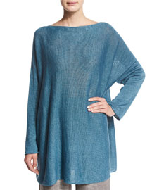 Knitted Linen Dolman-Sleeve Top, Teal