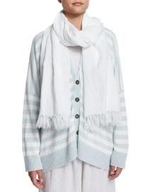 Handkerchief Linen Scarf, White