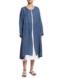 Long-Sleeve Pleated Long Coat, Jean