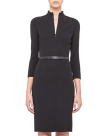 Split-Neck Double-Face Wool Sheath Dress, Black