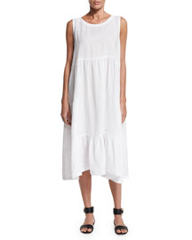 Sleeveless Tiered Linen A-Line Dress, White
