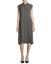 Sleeveless Handkerchief Linen Shirtdress, Elephant