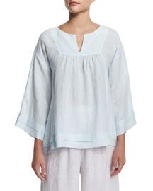Artisan-Pleated Handkerchief Linen Top, Seamist