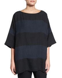 Striped Lightweight Linen Top, Black/Blue