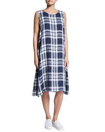 Sleeveless Plaid Linen Dress, Indigo