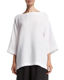 Lightweight Linen 3/4-Sleeve Top, White