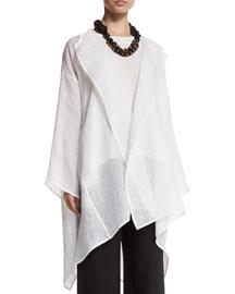 Oversized Gauzy Linen Open-Front Jacket, White