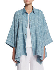 Oversized 3/4-Sleeve Plaid Shirt, Light Denim