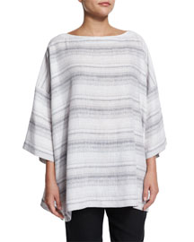 3/4-Sleeve Striped Linen Tunic, Gray/Stripe