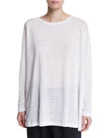 Long-Sleeve Linen T-Shirt, White
