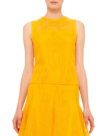Sleeveless Grid Lace Top, Tangerine
