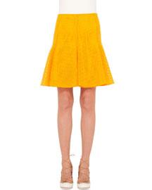 Grid Lace Godet Skirt, Tangerine