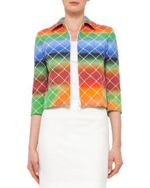 3/4-Sleeve Cropped Baseball Net-Print Jacket, Multi