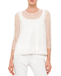 3/4-Sleeve Mesh Jersey Top, Cream