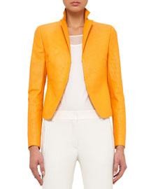 Leather Notch-Collar Jacket, Tangerine