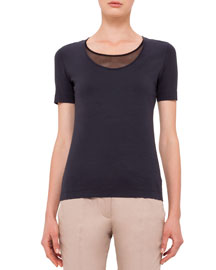 Scoop-Neck Tee with Mesh Detail