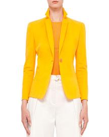 Long-Sleeve One-Button Blazer, Tangerine
