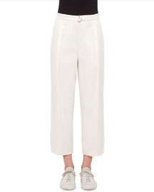 Pleated-Front Wide-Leg Cropped Pants, Cream
