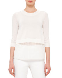 3/4-Sleeve Cropped Grid Lace Sweater, Cream