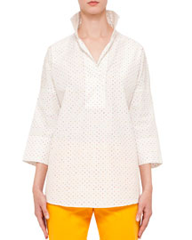 Oversized Polka-Dot Tunic Blouse, Multi/White