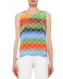 Sleeveless Baseball Net-Print Silk Top, Multicolor
