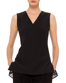 Sleeveless V-Neck Top w/Mesh Hem, Black