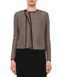 Striped Collarless Jacket, Cord/Black