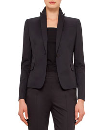 Stretch-Woven Mesh-Sleeve One-Button Jacket, Black